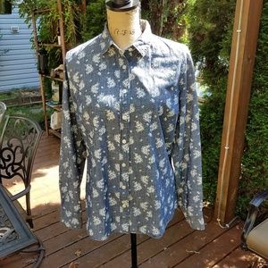J Crew The Perfect Shirt chambray floral print
